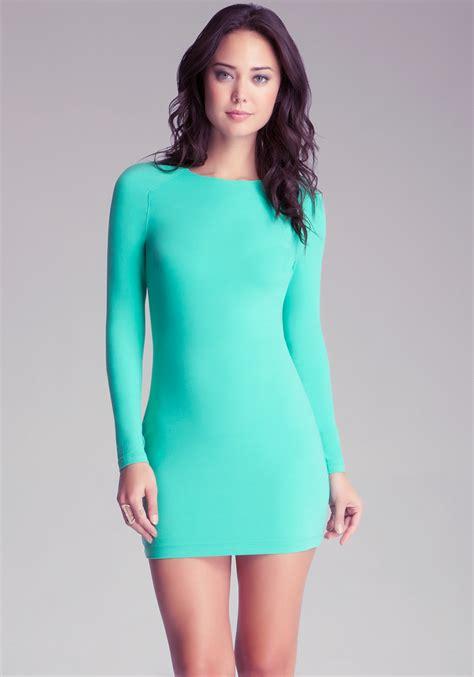 Bodycon Dress lyst bebe sleeve bodycon dress in green