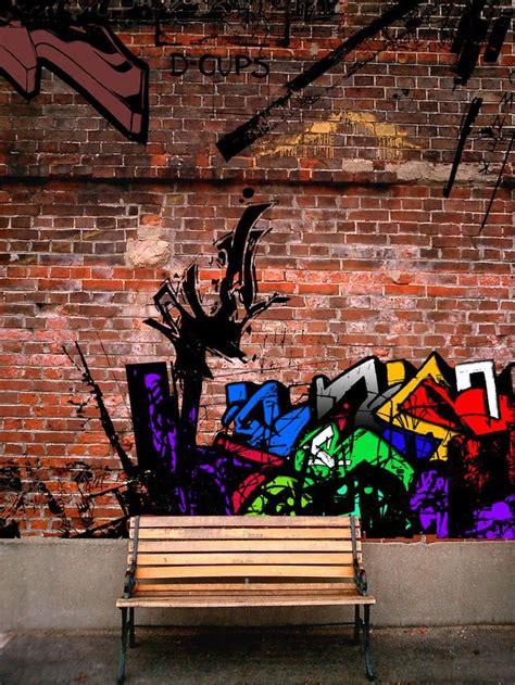 brick wallpaper with graffiti graffiti on brick wall idee camera pinterest bricks