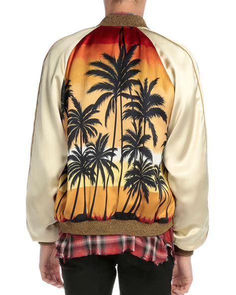 Palm Bomber Jacket laurent palm tree print satin bomber jacket for lyst