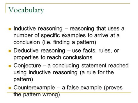deductive pattern paragraph exles inductive reasoning and conjecture and deductive reasoning