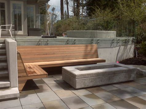 contemporary fire pit  built  bench contemporary