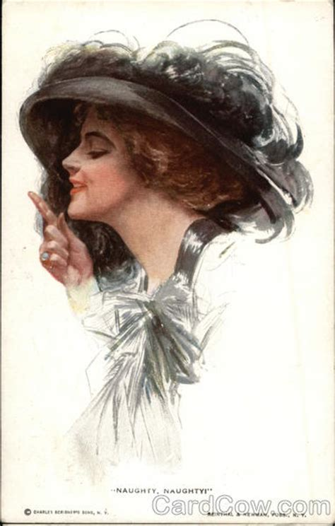 """Naughty, Naughty"" Woman in large Black Hat Harrison Fisher"
