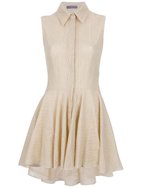 Womens Dressers by Mcqueen Lace Dress In Beige Lyst