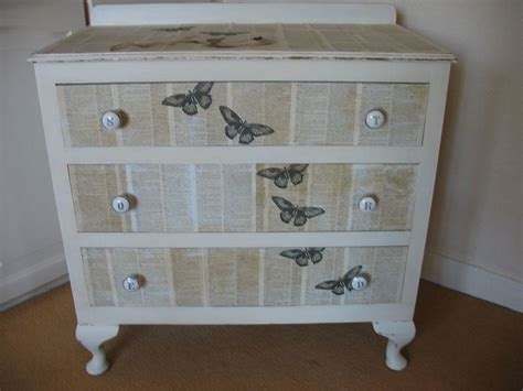 shabby chic decoupaged 3 drawer chest painted vintage antique farmhouse furniture