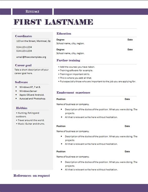 Openoffice Cv Template Uk Openoffice Resume Template Free Cv Template Free Cv Template Dot Org Resume Templates Open