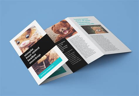 accordion fold brochure template free accordion 4 fold brochure leaflet mockup psd