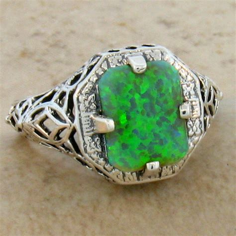 antique style 925 sterling silver filigree green lab