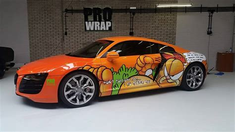 wrapped r8 audi r8 v10 receives garfield wrap becomes project