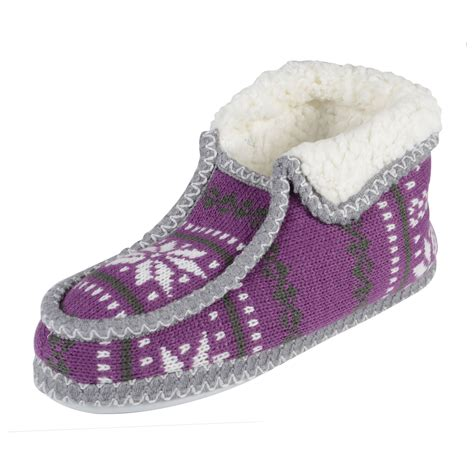 Sale Knitted Fairisle Bootie Slippers For Sherpa