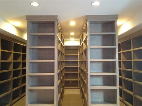 Basement: Shelving And Recessed Lighting With Tile Flooring For Finished Basements And Interior