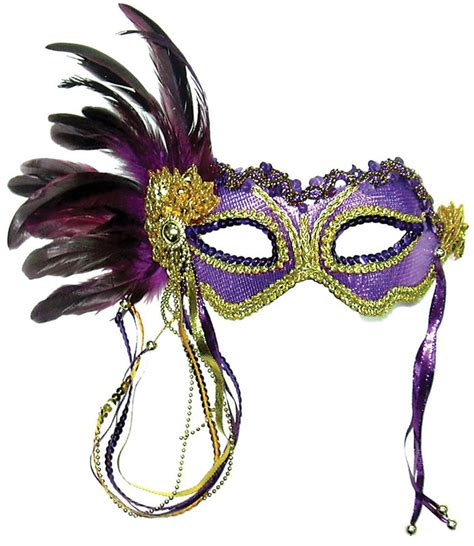 Masker Dress Code Black vita masquerade mask purple metallic with side feather
