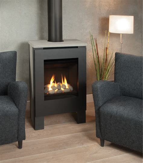 Great Stoves And Fireplaces by Freestanding Gas Stove Features Concrete Side Panels And A