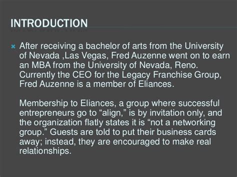 Of Nevada Reno Mba by Eliances Is About Alignment Not Networking