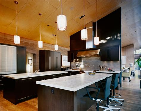 Kitchen Breakfast Bar Island by Imposing Contemporary Home In Aspen Colorado