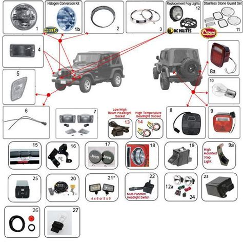 Jeep Wrangler Parts And Accessories Interactive Diagram Jeep Tj Lighting Parts Jeep Tj