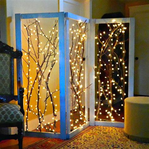 how to make lighted branches how to twinkling branches room divider fairy lights