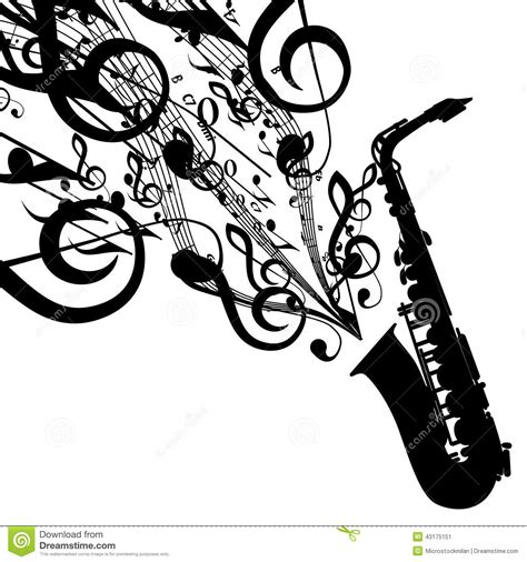 vector silhouette of saxophone with musical symbols stock