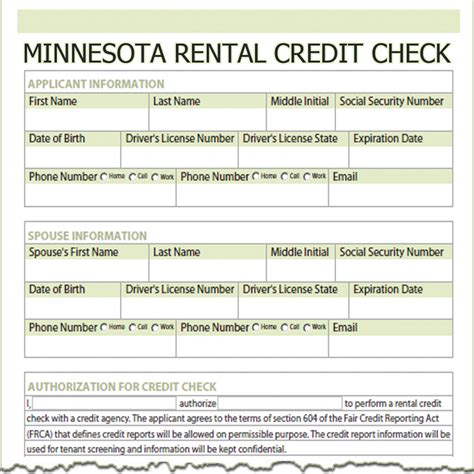 Rent Credit Form Minnesota Minnesota Rental Credit Check