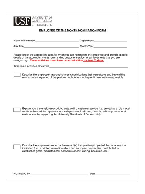 employee   month nomination form   templates   word excel