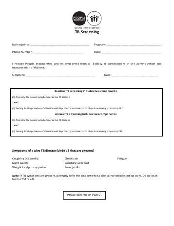 Employee Information Form People Incorporated Tb Skin Test Form Template