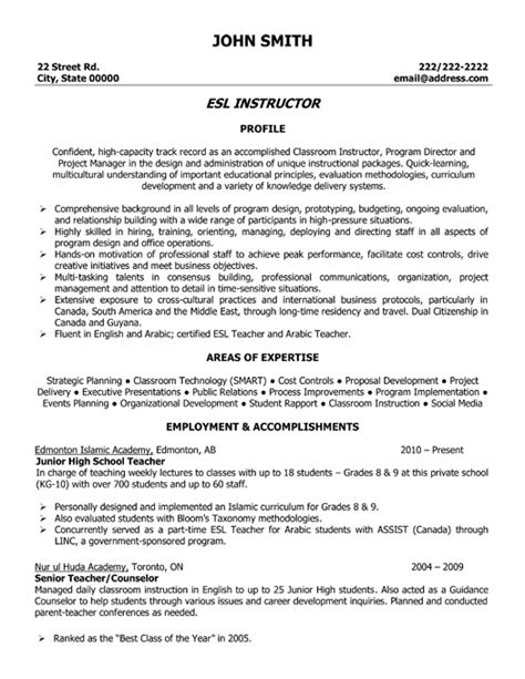 Resume Sles For Esl Teachers Esl Instructor Resume Template Premium Resume Sles Exle