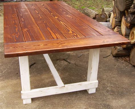 custom reclaimed wood trestle style farmhouse table with