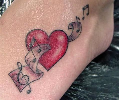 heart with music notes tattoo designs note pictures to pin on tattooskid