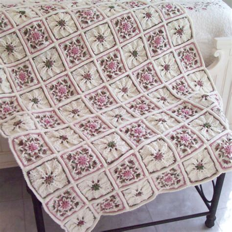 shabby chic rose garden crocheted afghan throw