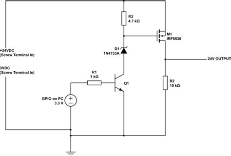 mosfet transistor switch circuit transistors using npn bjt with a p channel mosfet to switch 3 3v to 24v electrical