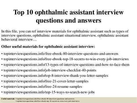 ophthalmology assistant description top 10 ophthalmic assistant questions and answers