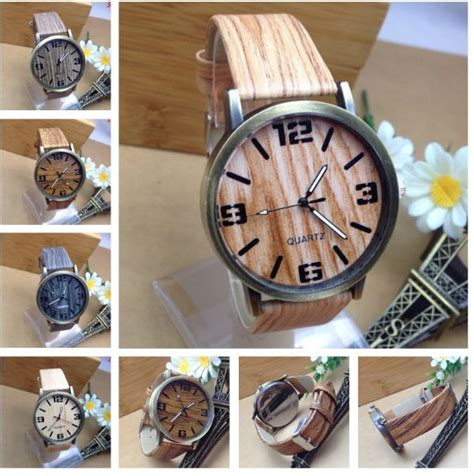 G Chintiya Set Bahan Kulit Emboss buy jam tangan motif kayu wood theme fashion fesyen
