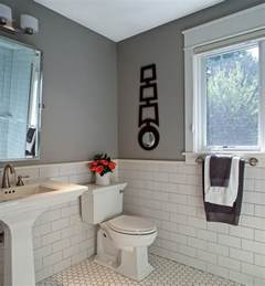 White subway tile grey grout bathroom contemporary with