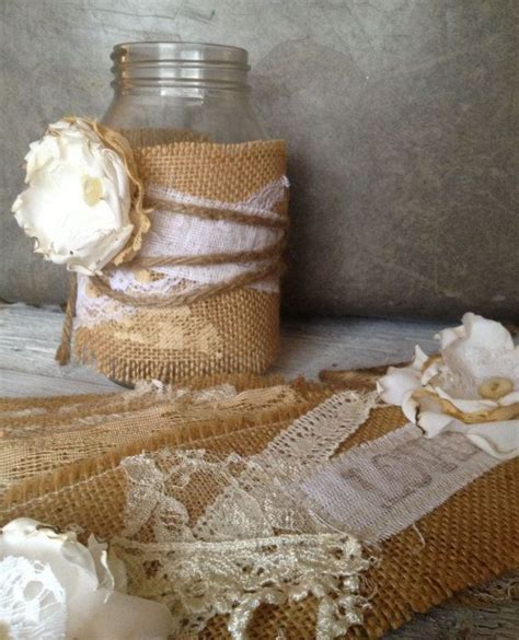 Rustic Wedding Decor for 10 Jars, Rustic Centerpiece
