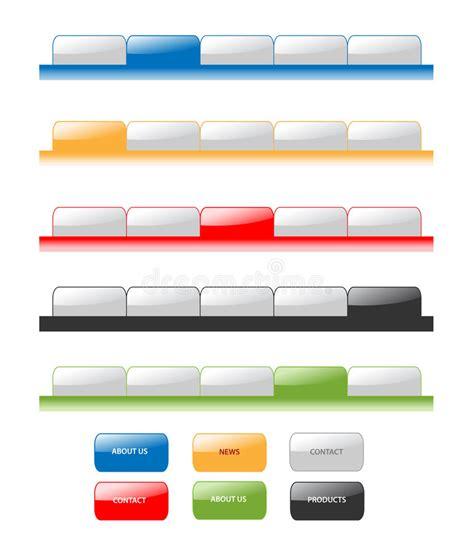 Web Navigation Blank Tabs Buttons Gradient Vector Template Bar Menu Tab Website Element Ui Site Button Website Template