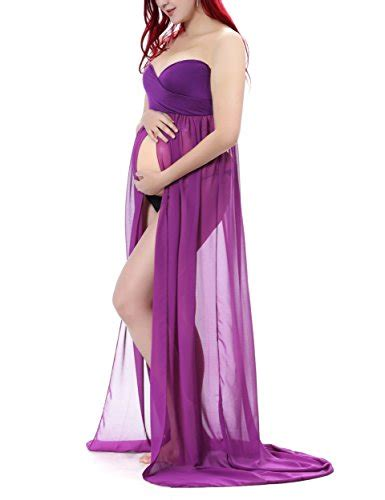 Syarina Pink Soft Abu Dress Bruklat saslax maternity split front sheer chiffon maternity gown maxi bridesmaid dress for photos shoot