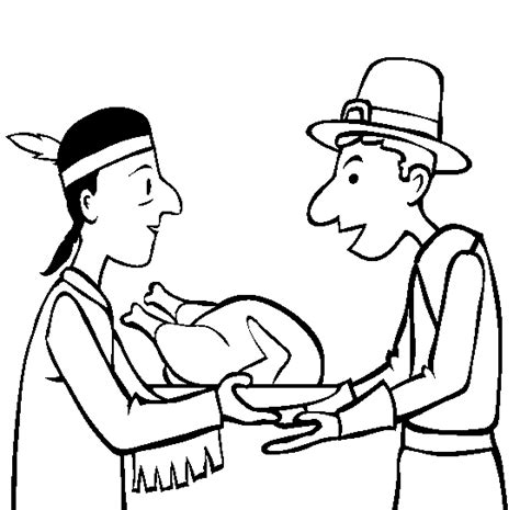 free coloring pages of pilgrim and indian