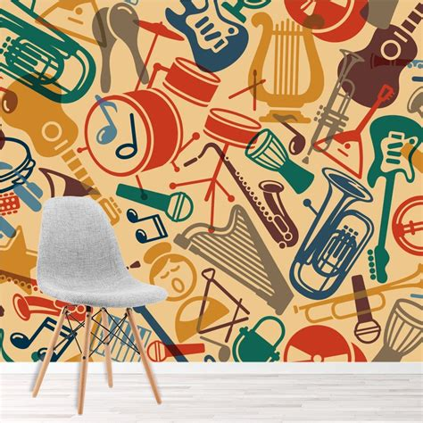 pattern wall mural instruments photo wallpaper