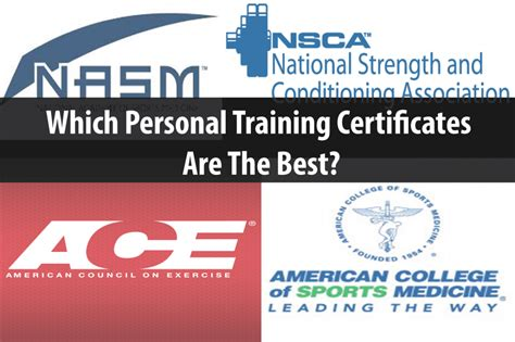 best personal trainer certification which personal certificates are the best