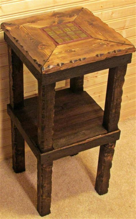 12 diy pallet side tables end tables 101 pallets diy pallet side table with gloss forest tile accent 101