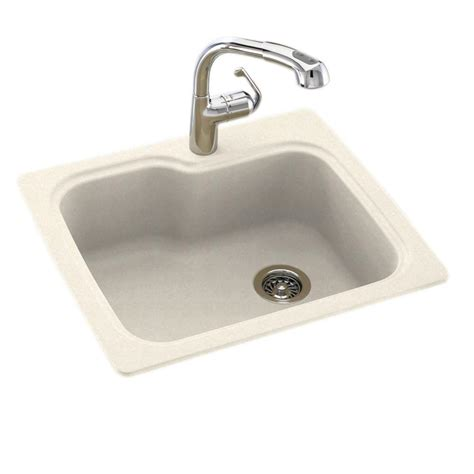 Swan Kitchen Sinks Swan Dual Mount Composite 25 In 1 Single Bowl Kitchen Sink In Pebble Ks02522sb 072 The