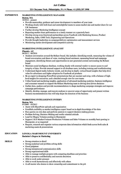 marketing intelligence resume sles velvet jobs
