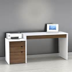 Modern Desk To It Nexera Liber T Computer Desk With Filing Cabinet White And Espresso 349 99
