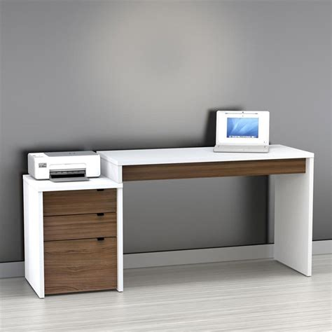 White Wood Computer Desk To It Nexera Liber T Computer Desk With Filing Cabinet White And Espresso 349 99