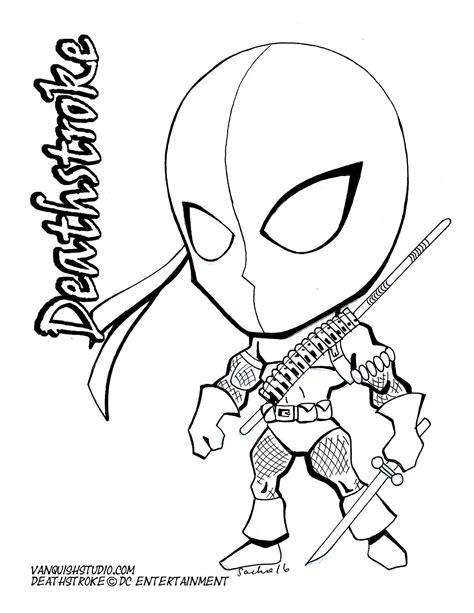 deathstroke coloring pages chibi style fusion of american and japanese
