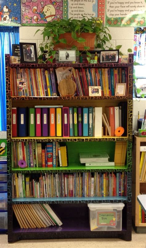 colorful bookshelf school ideas