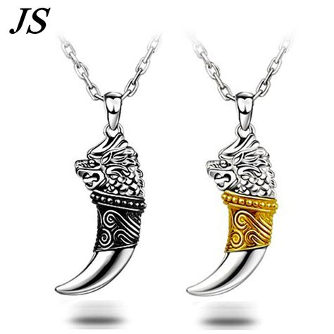 Wolf Fang Necklace Jwne0070 js 2016 vintage wolf fang necklace silver nacklace tribal wolf neckless colar viking