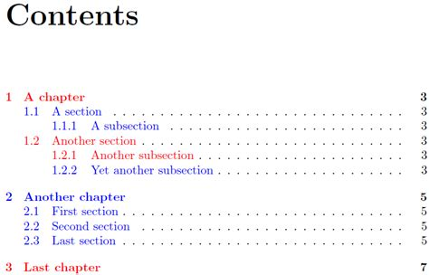latex tutorial table of contents toc customizing the table of contents with two colors in