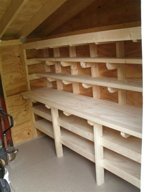 shed work bench shed workbench and shelves more woodworking projects