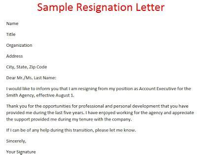 samples resignation letters