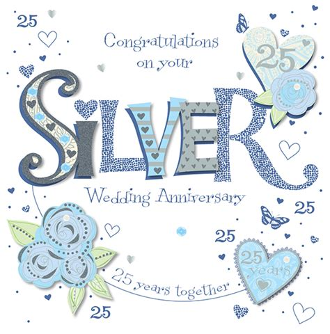 Handmade Greeting Cards For 25th Wedding Anniversary handmade silver 25th wedding anniversary greeting card cards